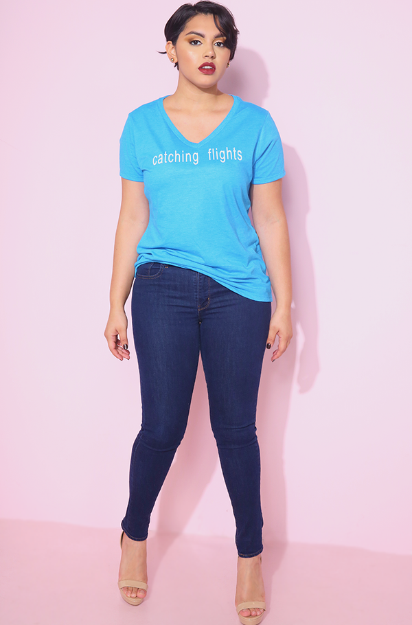 Turquoise V-Neck T-Shirt plus sizes