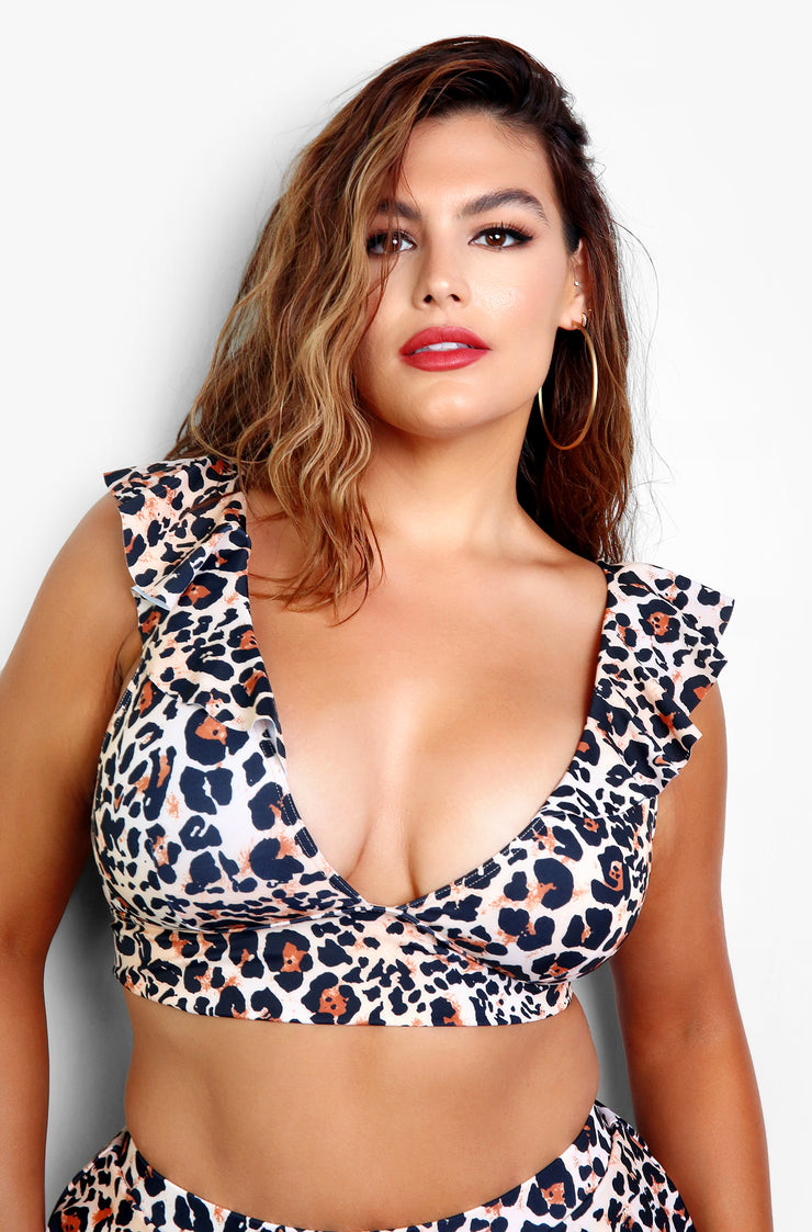 Leopard Print Ruffled Bikini Top Plus Sizes