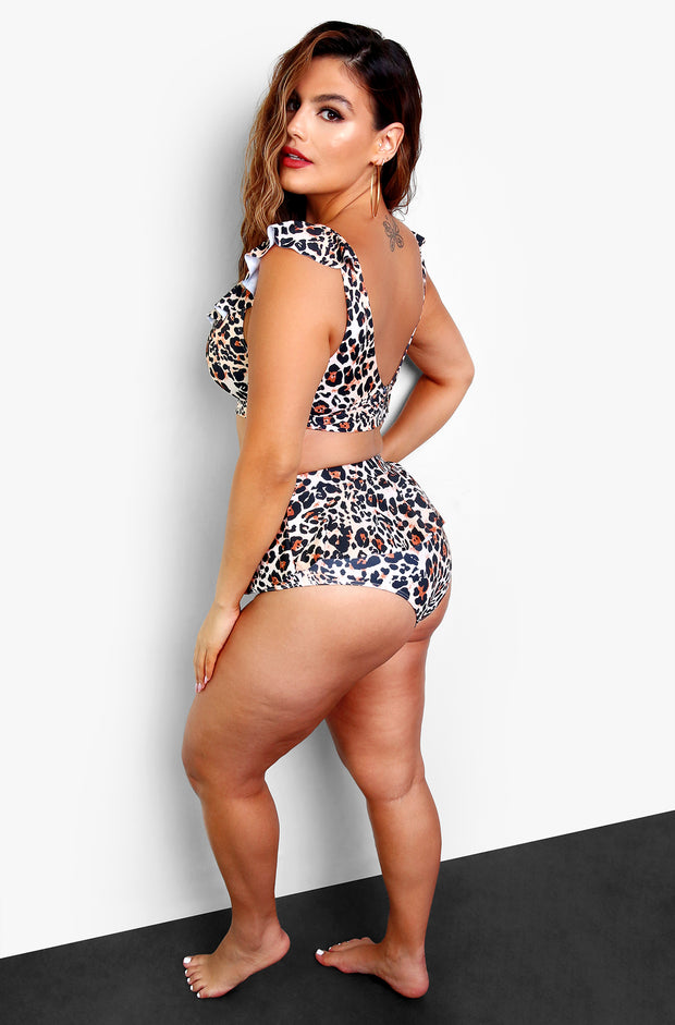 Leopard High Rise Peplum Bikini Bottoms Plus Sizes