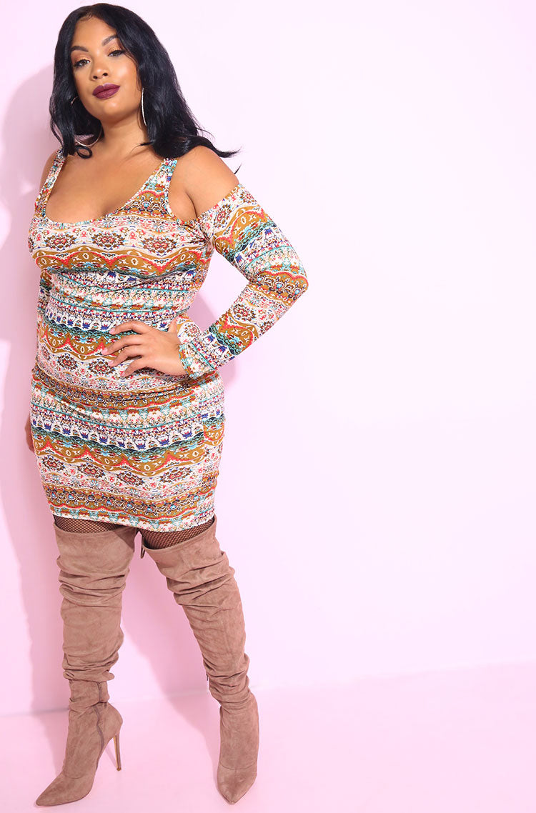 Brown Cold Shoulder Bodycon Mini Dress plus sizes