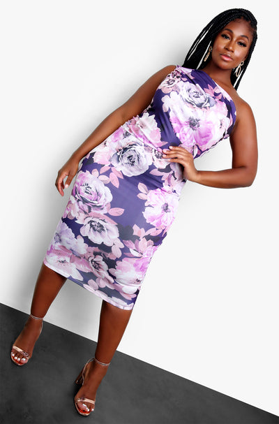 "Rebdolls ""Caught The Bouquet"" One Shoulder Floral Bodycon Midi Dress"