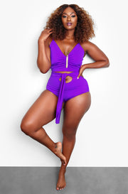 Purple Ruched V-Neck Swim Top Plus Sizes