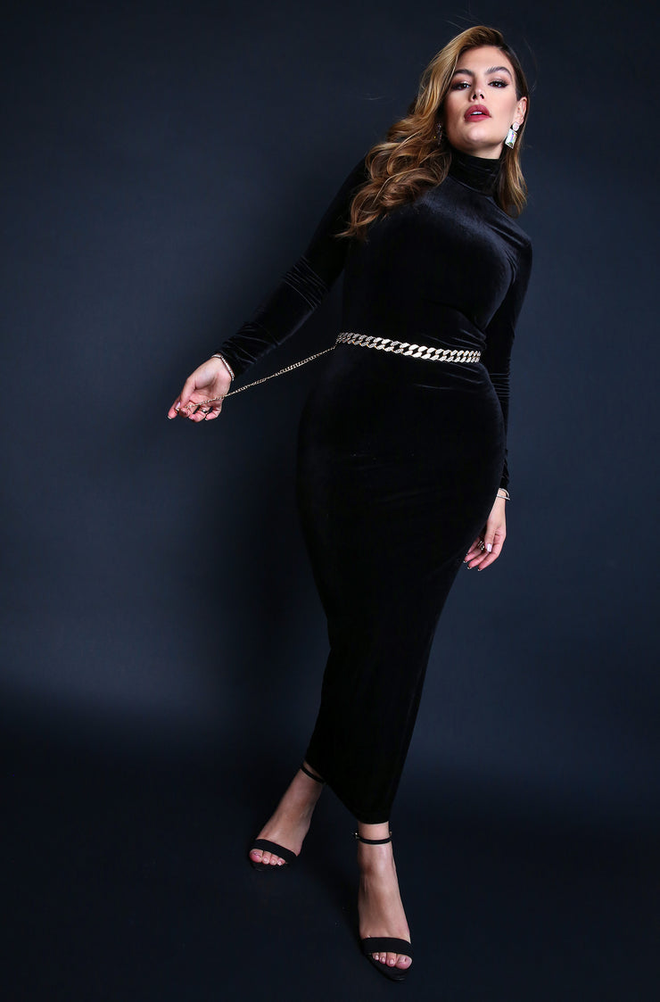 Black Plus Sizes Turtleneck Long Sleeve Bodycon Maxi Dress.