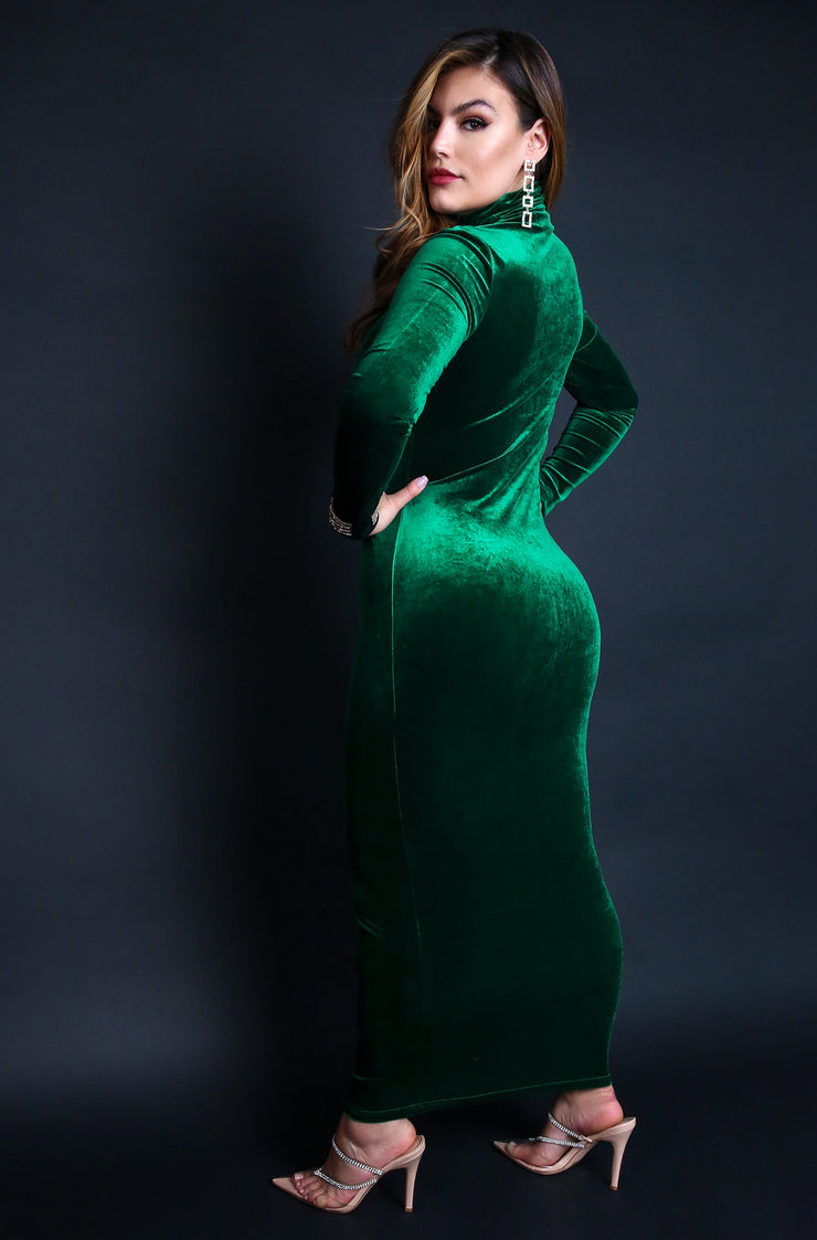 Emerald Green Plus Sizes Turtleneck Long Sleeve Bodycon Maxi Dress