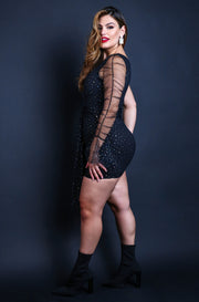 Black Plus Size One Shoulder Mesh & Rhinestone Mini Dress