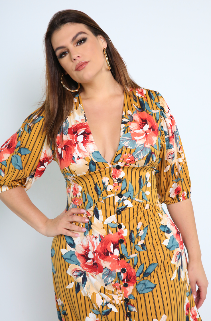 Mustard Belted Floral A-Line Midi Dress Plus sizes