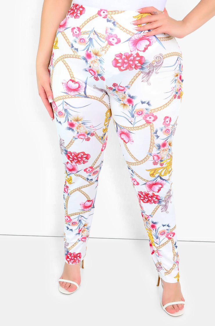 White High Waist Leggings Plus Sizes