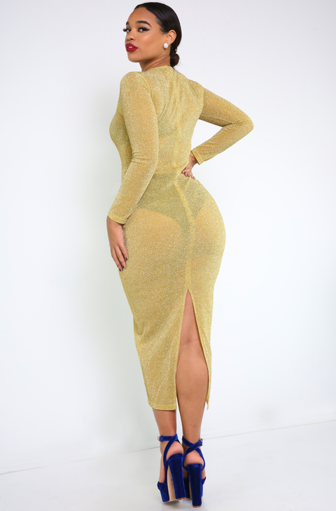 Mustard Sheer Bodycon Maxi Dress Plus Sizes