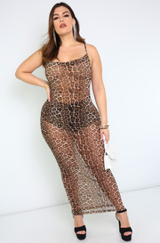Brown Sheer Cowl Neck Maxi Dress Plus Sizes