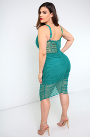 Teal Ruched Mesh Mini Dress Plus Sizes