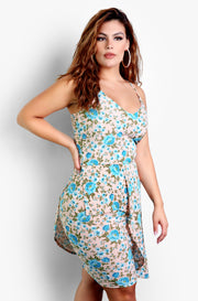 Light Blue Asymmetrical Floral Top Plus Sizes