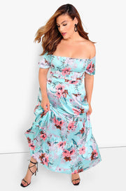 Aqua Floral Maxi Skirt Plus Sizes