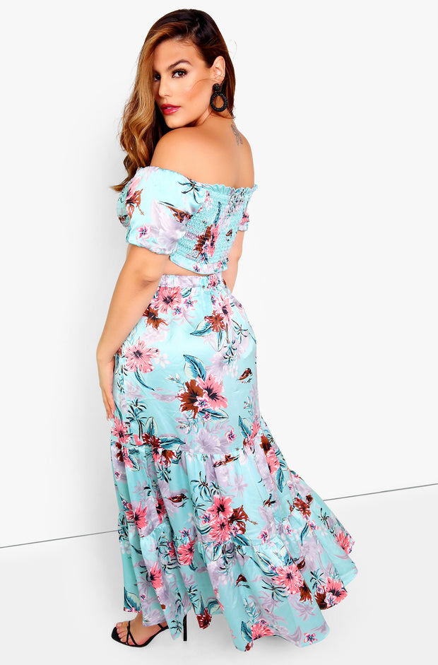Aqua Floral Over The Shoulder Smocked Crop Top Plus Sizes