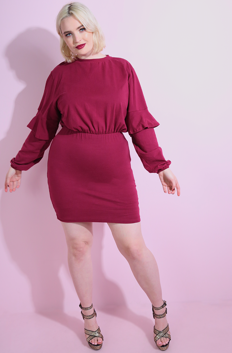 Burgundy Ruffled Sleeve Bodycon Mini Dress Plus Sizes