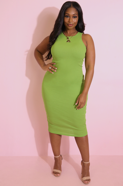 Green Bodycon Midi Dress plus sizes