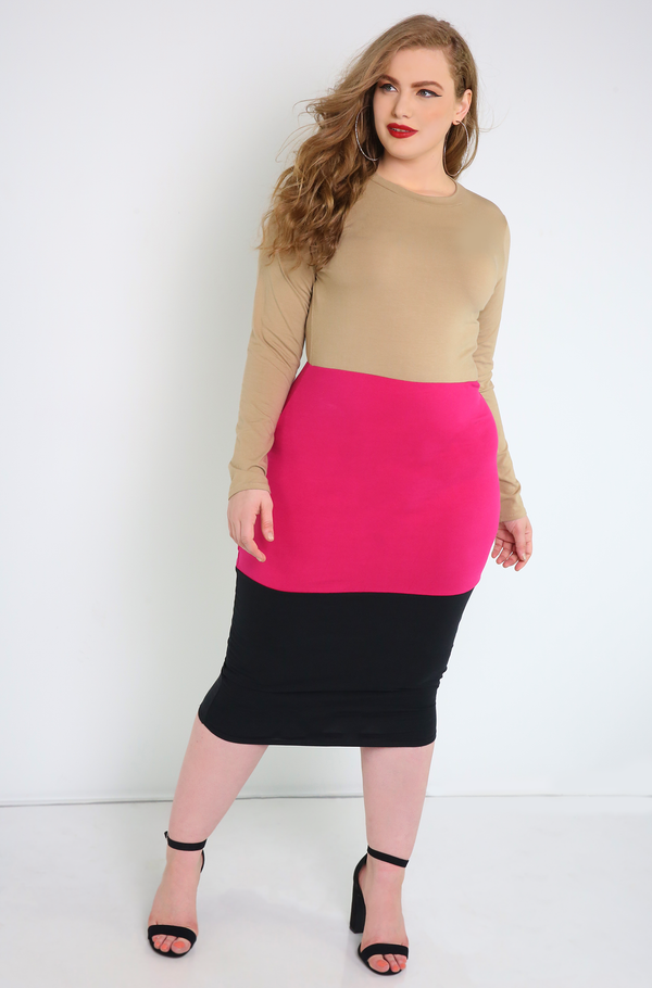 Nude Color Block Midi Dress Plus Sizes