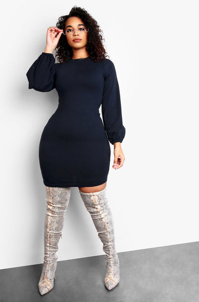 Black Plus Size Long Sleeve Mini Dress