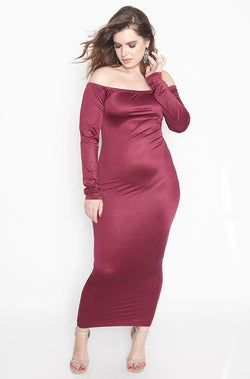 Burgundy Over The Shoulder Spandex Bodycon Maxi Dress plus sizes