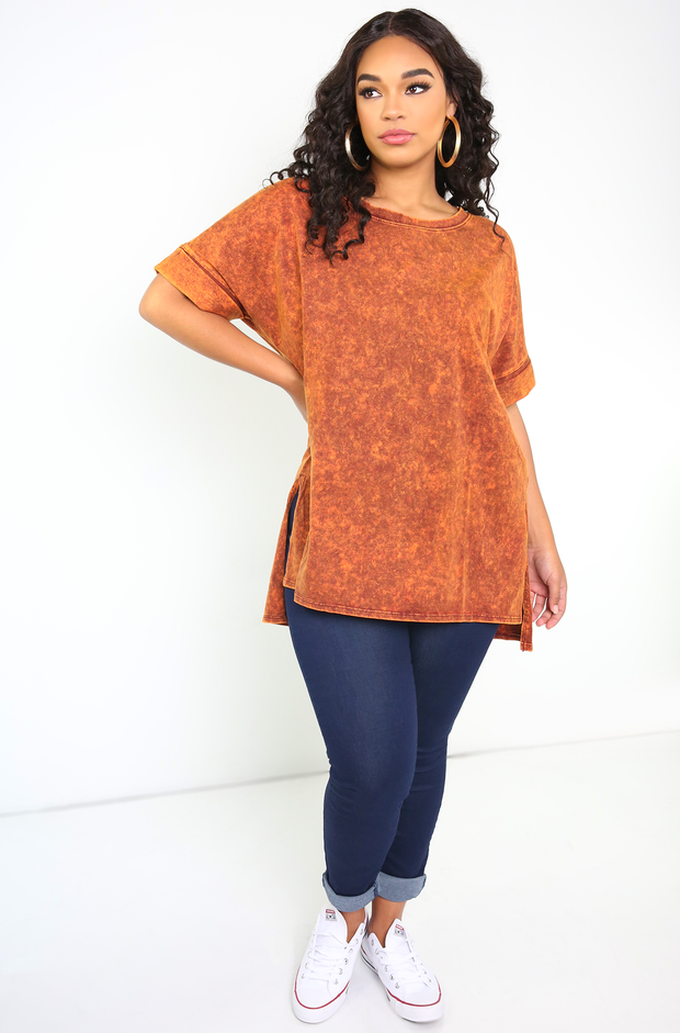 Rust Oversized Mineral Wash T-Shirt Plus Sizes