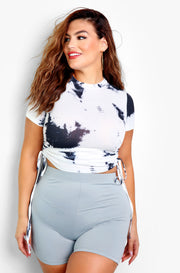 White Tie Dye Ruched Cropped Top Plus Sizes