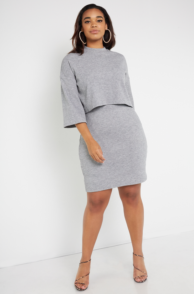 Gray Ribbed Oversized Sweater Plus Sizes