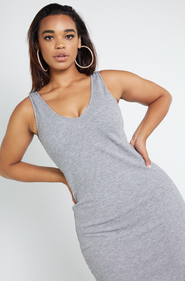 Gray Ribbed Sweater Dress Plus Sizes