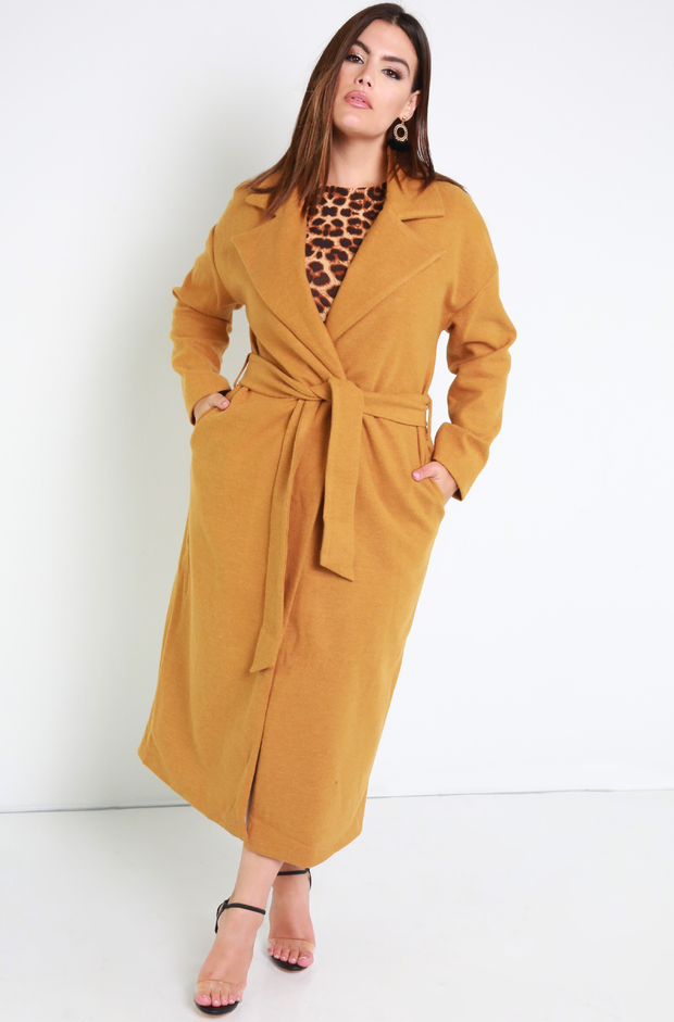 Copper Belted Blazer Wool Coat Plus Sizes