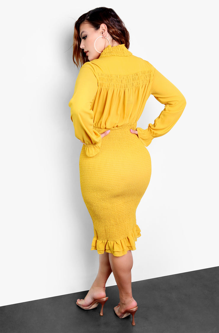 mustard plus size smocked dress