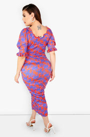 Blue Ruched Puff Sleeve Midi Dress