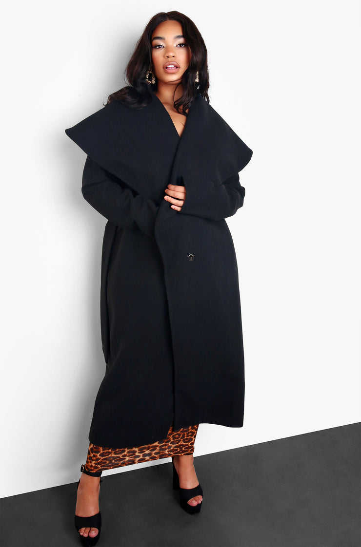 Black Waterfall Wide Collar Coat Plus Sizes