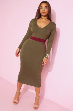 "Rebdolls ""Classics"" Two Tone Bodycon Midi Dress"
