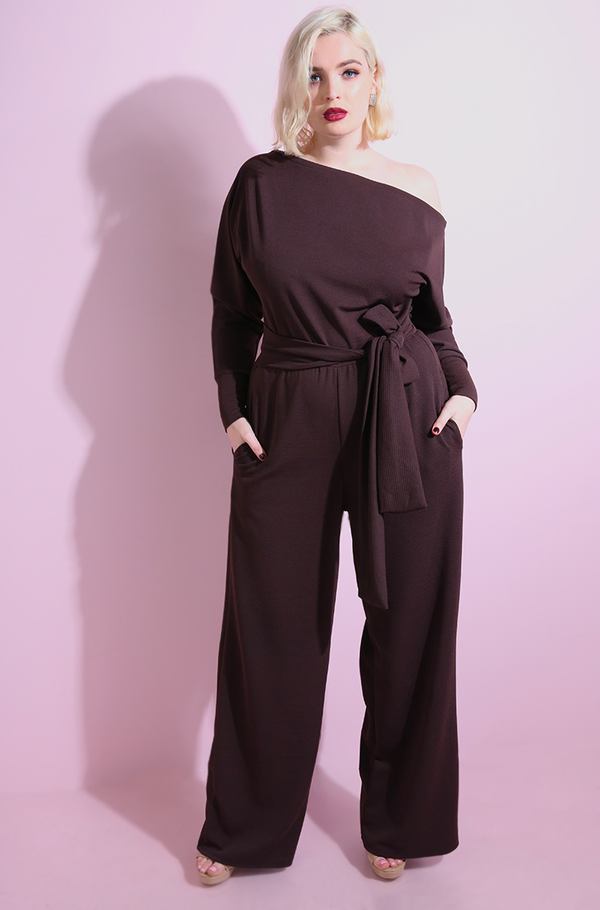 Brown Over The Shoulder Wide Leg Jumpsuit with pockets plus sizes