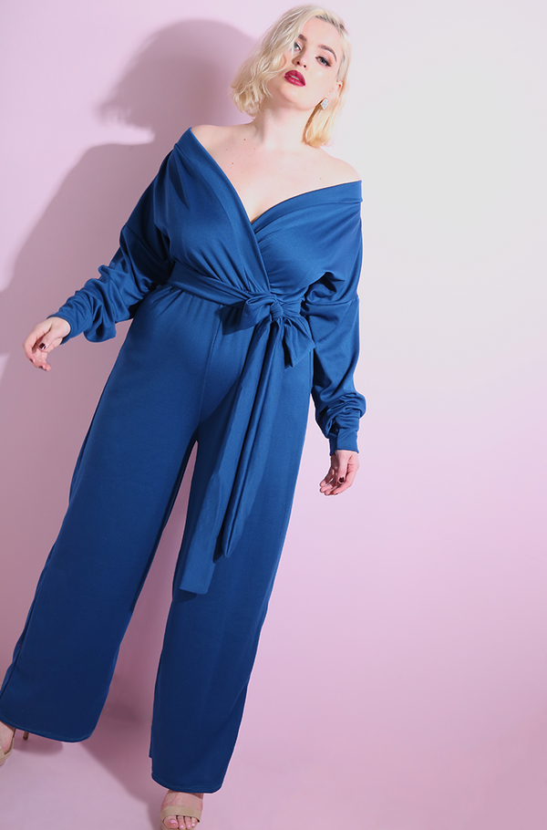 "Rebdolls ""Speaking Of"" Over The Shoulder Wide Leg Jumpsuit"