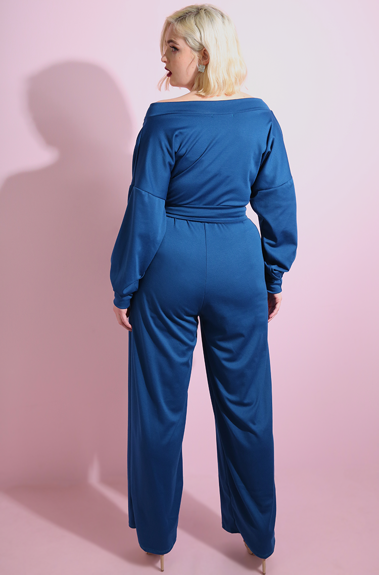 Turquoise Over The Shoulder Wide Leg Jumpsuit plus sizes