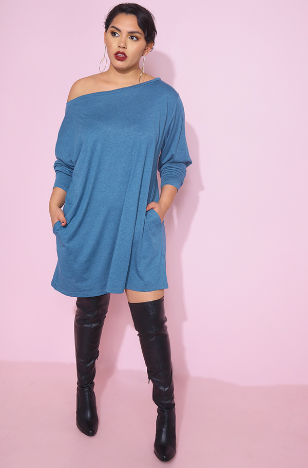 Blue Over The Shoulder T-Shirt Dress With Pockets plus sizes