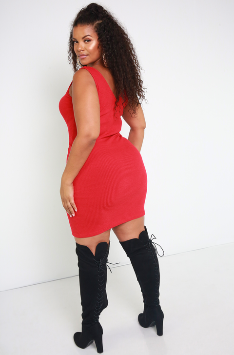 Red Ribbed Sweater Dress Plus Sizes