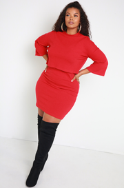 Red Ribbed Oversized Sweater Plus Sizes