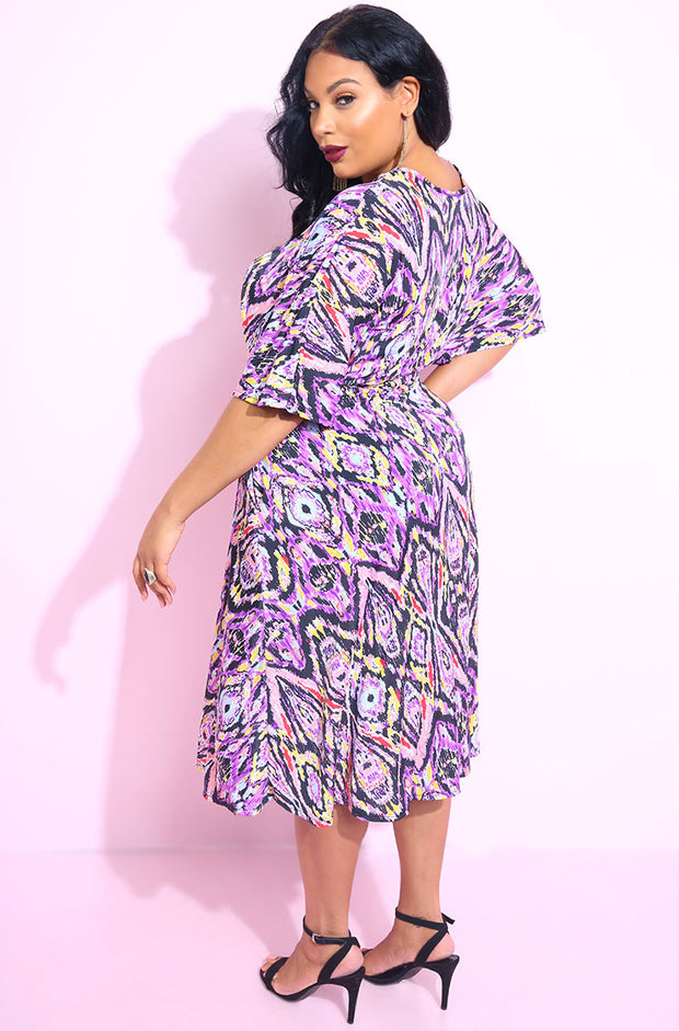 Purple print Kimono Sleeves Skater Dress with pockets plus sizes