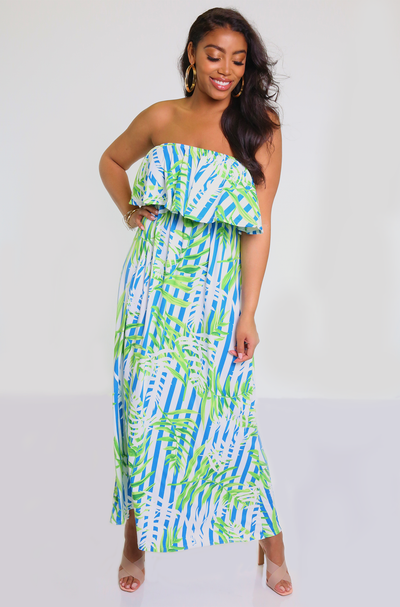 Blue Ruffled Maxi Dress Plus Sizes