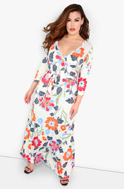 Orange Floral Maxi Dress Plus Sizes