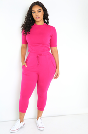Fuchsia Jogger Pants Plus Sizes