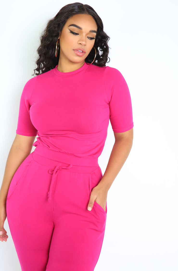 Fuchsia Crew Neck Crop Top Plus Sizes