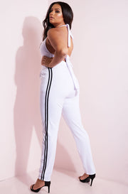 Three piece set. Bralette, Blazer and Joggers. White with black stripe plus sizes