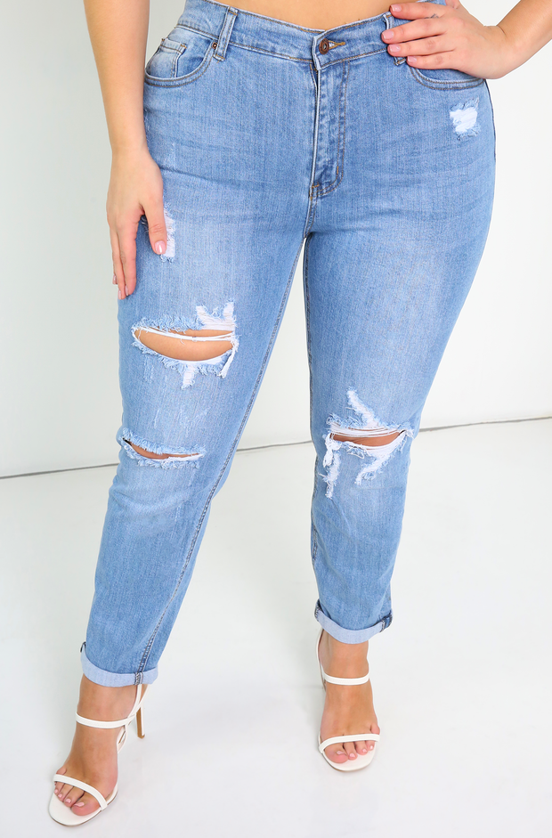 Light Blue Ripped Girlfriend Jeans Plus Sizes