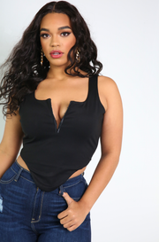 Black Corset high low Top Plus Sizes
