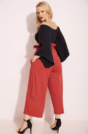 Rust Red Paper-Bag Culotte Pants Plus Sizes