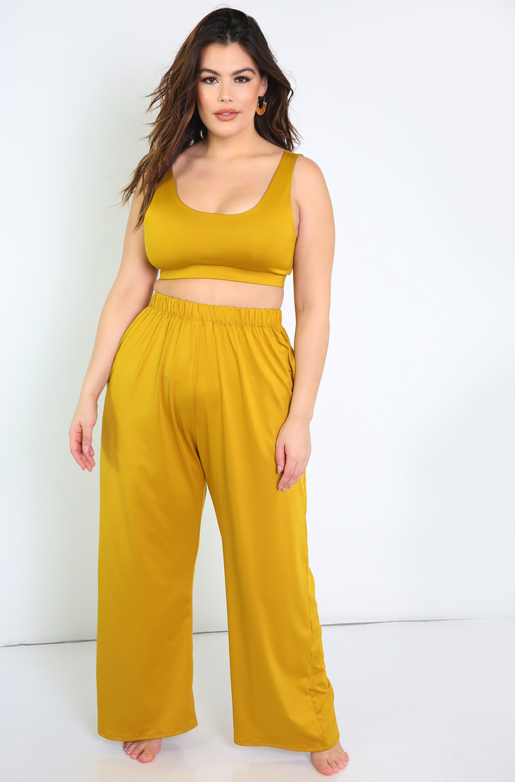 Mustard Tank Swimsuit Top Plus Sizes