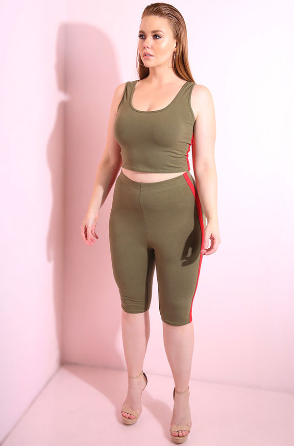 Olive high waist leggings with red stripe detail plus sizes
