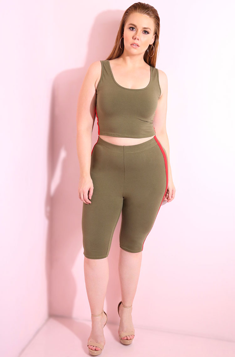 Olive tank crop top with red stripe detail plus sizes