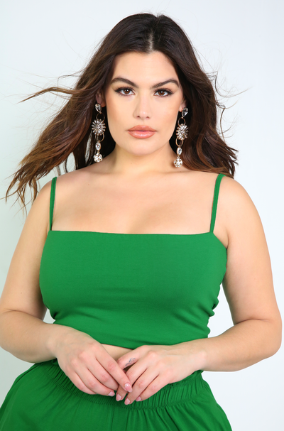 Green Spaghetti Strap Crop Top Plus Sizes